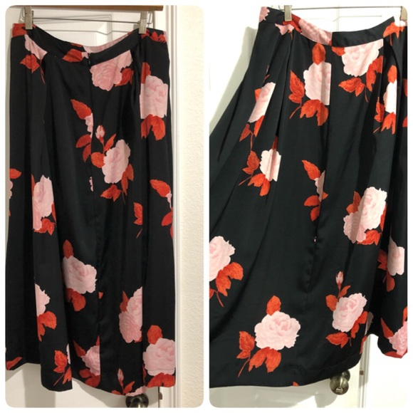 Who What Wear Dresses & Skirts - High waist black skirt with red and pink flowers